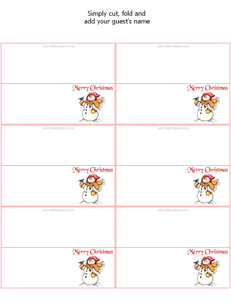 Place Card Template Free Free Christmas Place Card Templates
