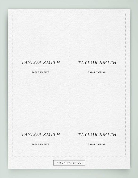 Place Card Template Free Name Card Template 15 Free Sample Example format