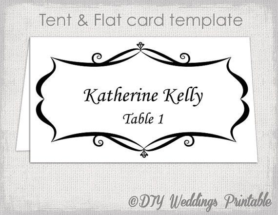 Place Card Template Word Place Card Template Tent and Flat Name Card Templates