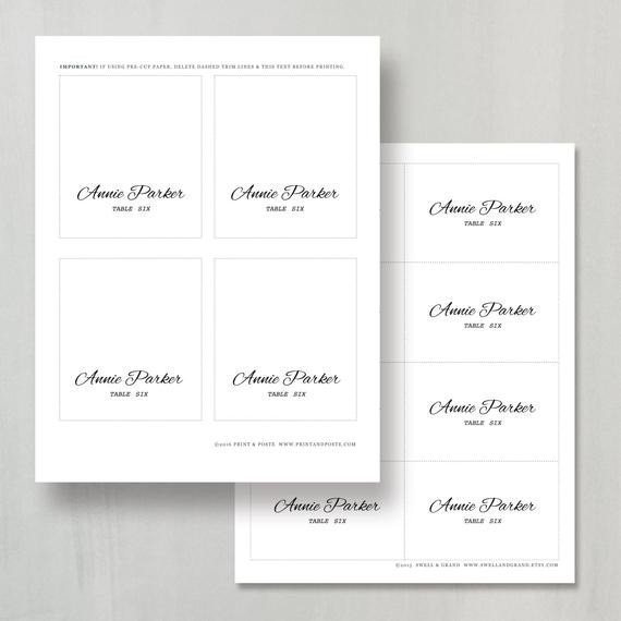 Place Card Template Word Printable Place Card Template Instant Download Calligraphy