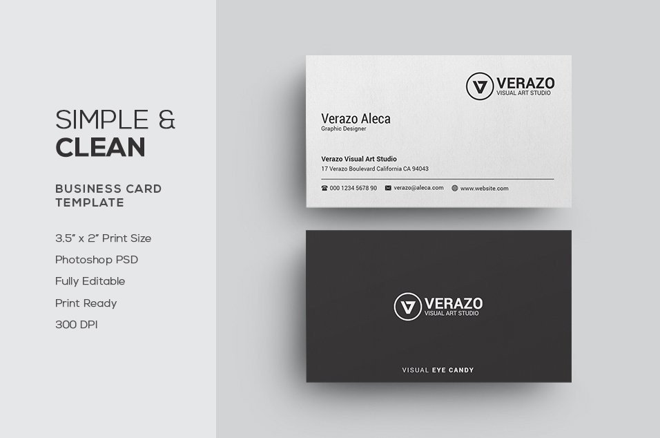 Plain Business Card Template Simple & Clean Business Card Business Card Templates