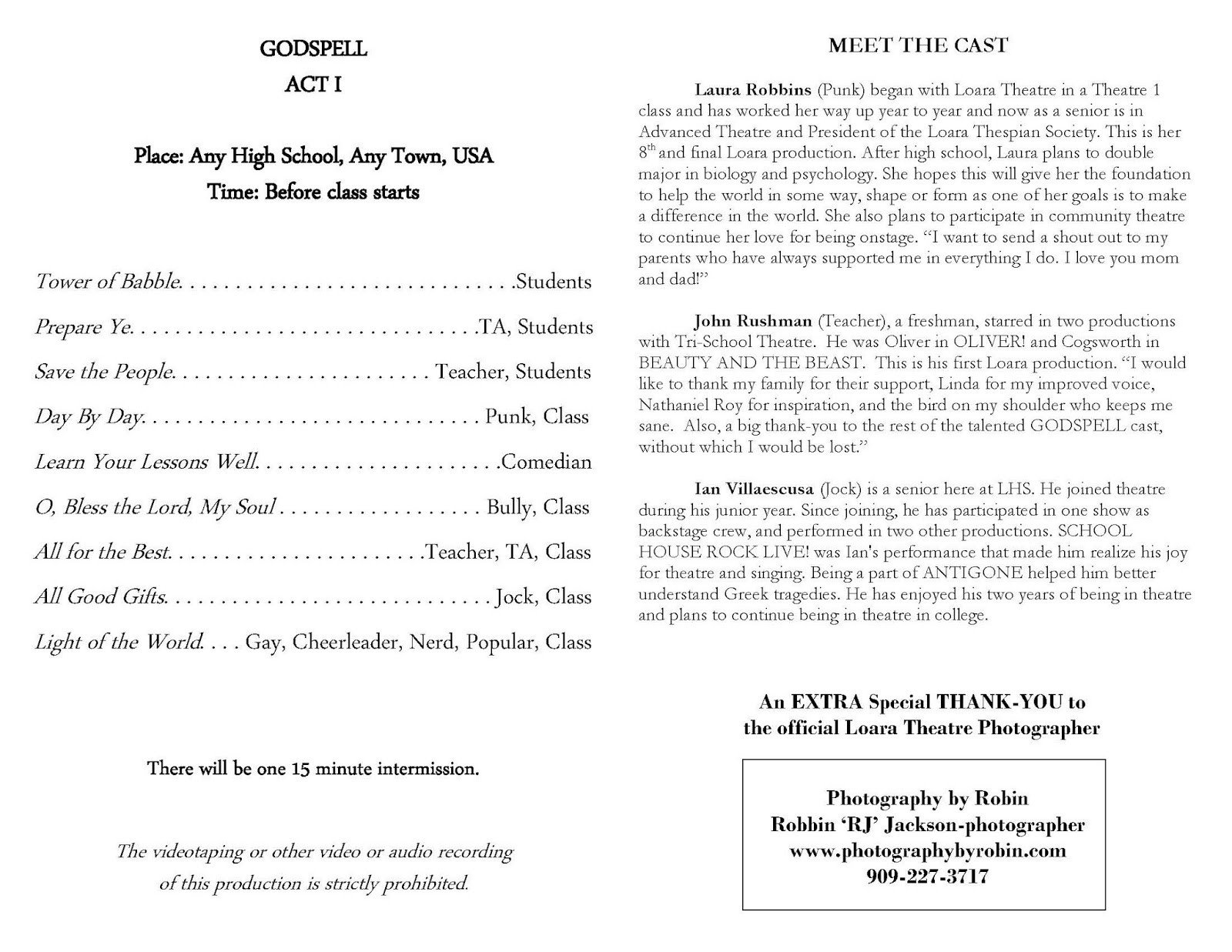 Play Program Template Word Loara High School Loara theatre Arts Macy Awards