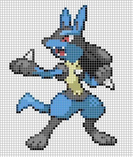 Pokemon Pixel Art Grid Lucario by Hama Girl Poke Pixel Art to Do