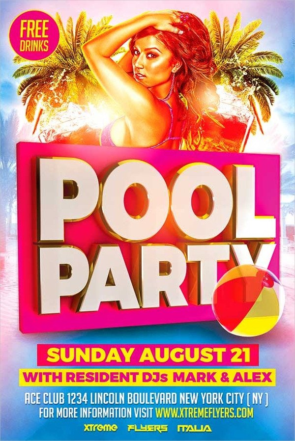 23 Pool Party Flyers Free PSD Word AI EPS Format