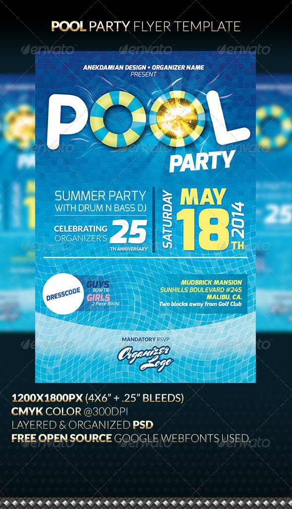 Pool Party Flyer Template Pool Party Flyer Template by Anekdamian