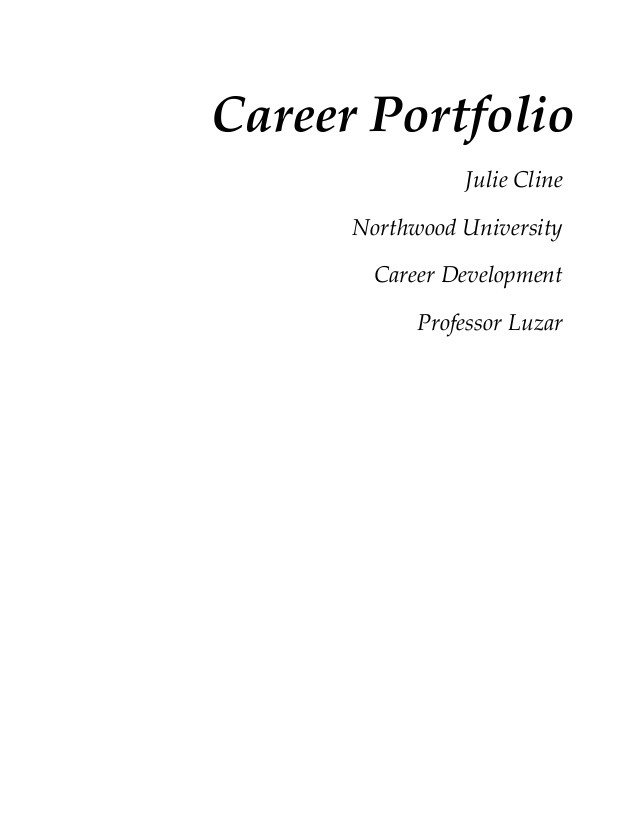 Portfolio Cover Page Template Cover Page