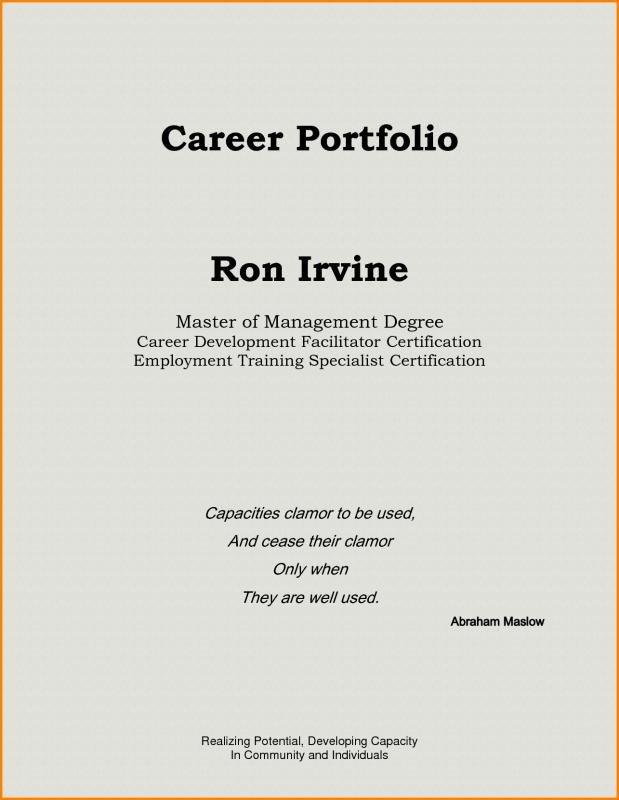 Portfolio Cover Page Template Teaching Portfolio Template