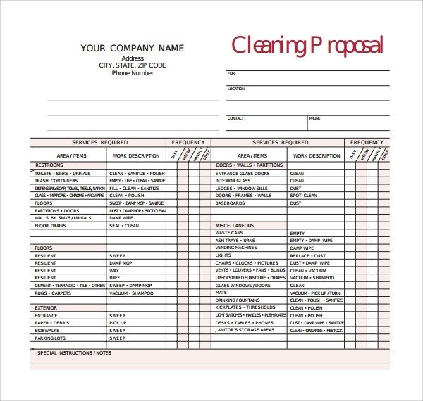 Post Construction Cleaning Proposal Template 16 Cleaning Proposal Templates Pdf Word