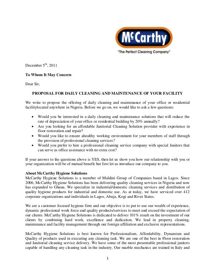 Post Construction Cleaning Proposal Template Mc Carthy Proposal