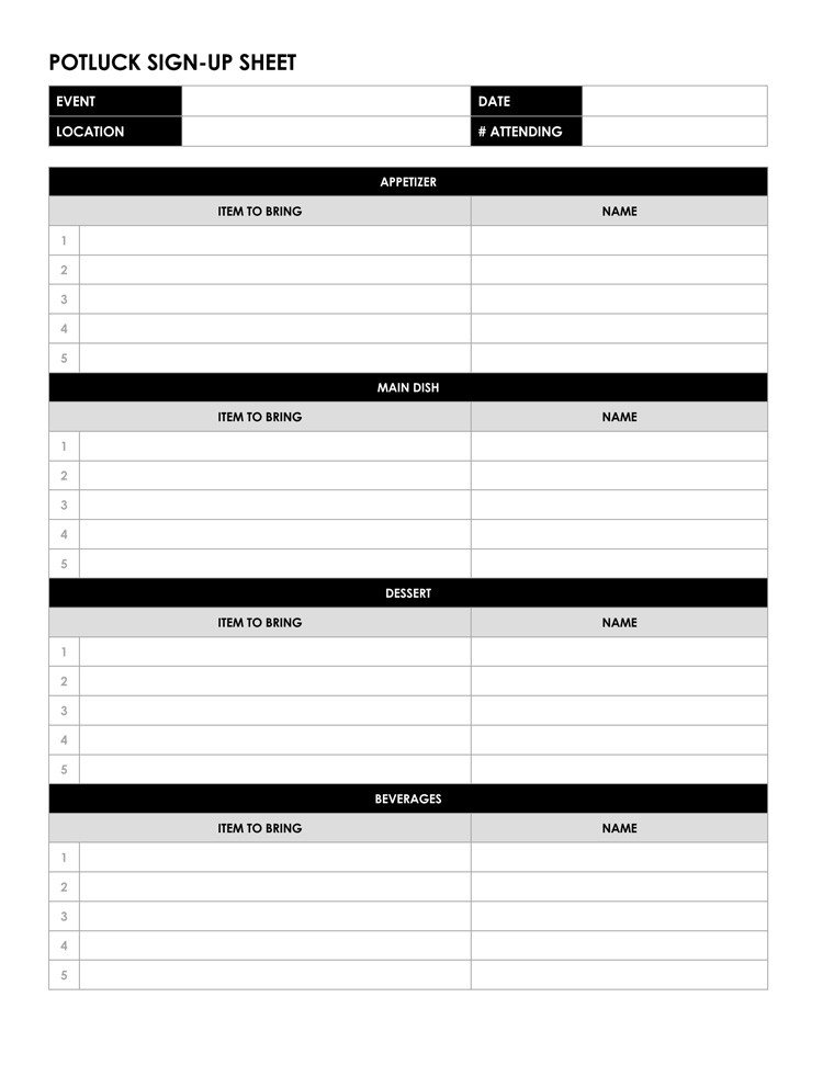 Potluck Signup Sheet Template 26 Free Sign Up Sheet Templates Excel & Word