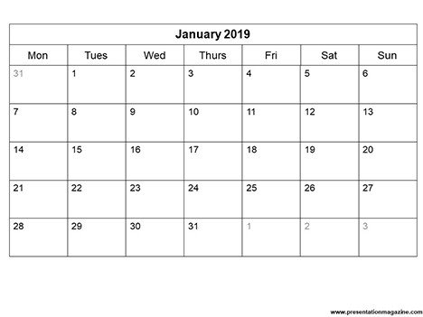 Power Point Calendar Templates Free 2019 Monthly Calendar Template