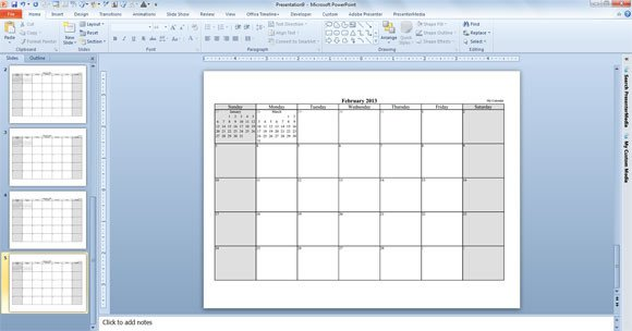 Power Point Calendar Templates Make Your Free Calendar 2013 Template In Powerpoint