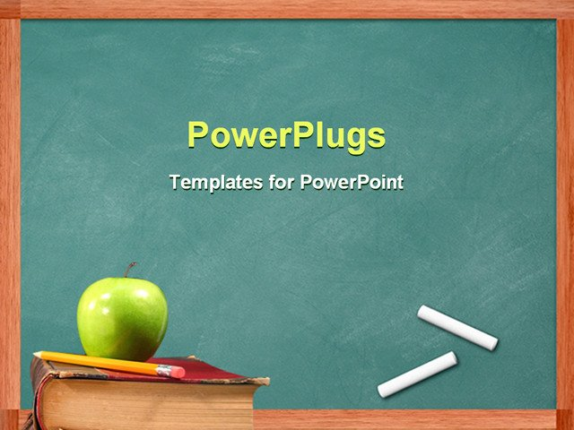PowerPoint Template Apple and pencil on book in front of