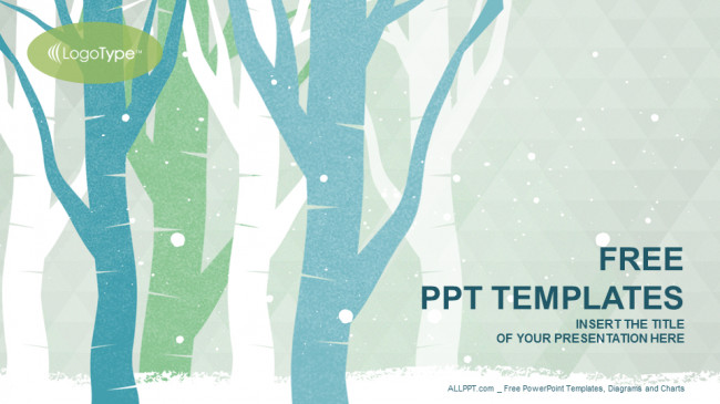 Ppt Presentation Template Free Winter Trees Nature Powerpoint Templates