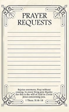 Prayer Card Template Free Free Printable Prayer Request forms