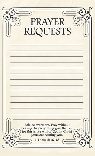 Prayer Request Card Template Free Printable Prayer Request forms