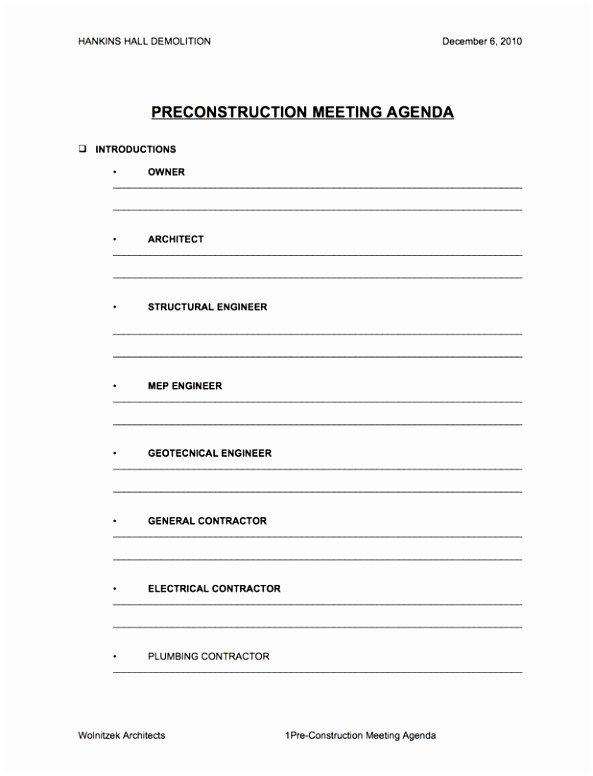 Pre Construction Meeting Agenda Template 5 Pre Construction Meeting Agenda Template Eiyye