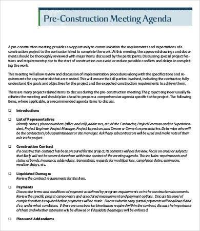 Pre Construction Meeting Agenda Template Construction Meeting Agenda Template 6 Free Word Pdf