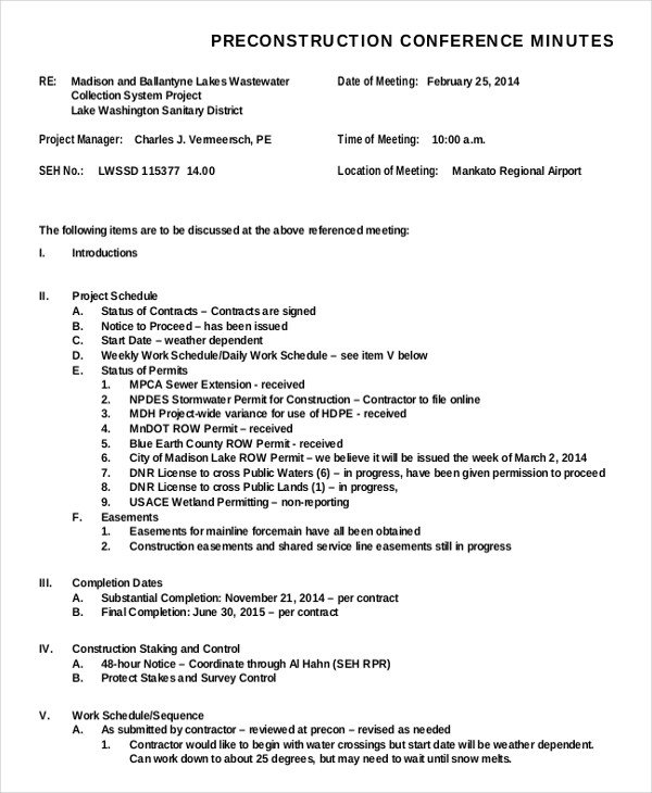 Pre Construction Meeting Agenda Template Construction Minutes Template – 8 Free Word Pdf