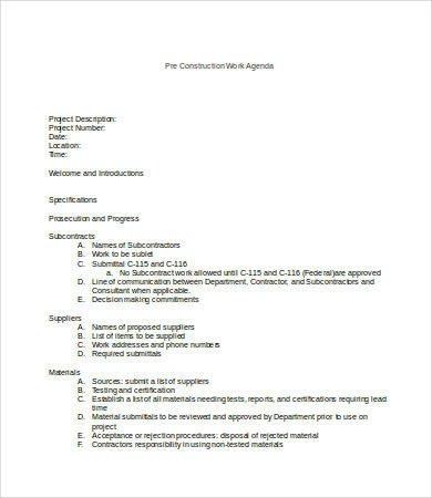 Pre Construction Meeting Agenda Template Work Agenda Templates 7 Free Word Pdf Documents
