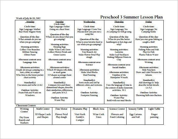 Pre K Lesson Plan Template 21 Preschool Lesson Plan Templates Doc Pdf Excel