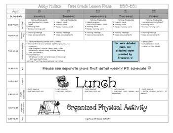 Pre K Lesson Plan Template Lesson Plan Template Pre K & Elementary