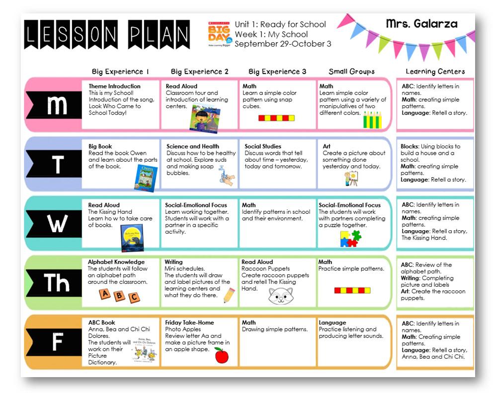 Pre K Lesson Plan Template Teacher Week when Thursday Freebies