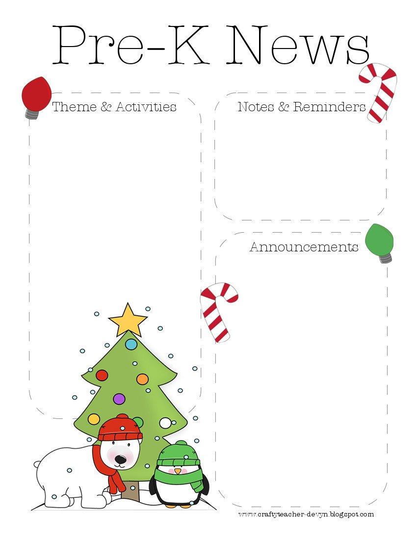Pre K Newsletter Templates Archive for December 2012