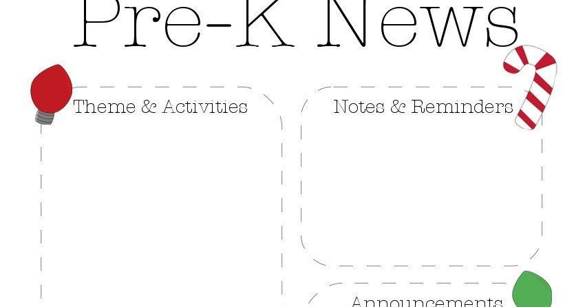 Pre K Newsletter Templates Christmas Pre K Newsletter Template