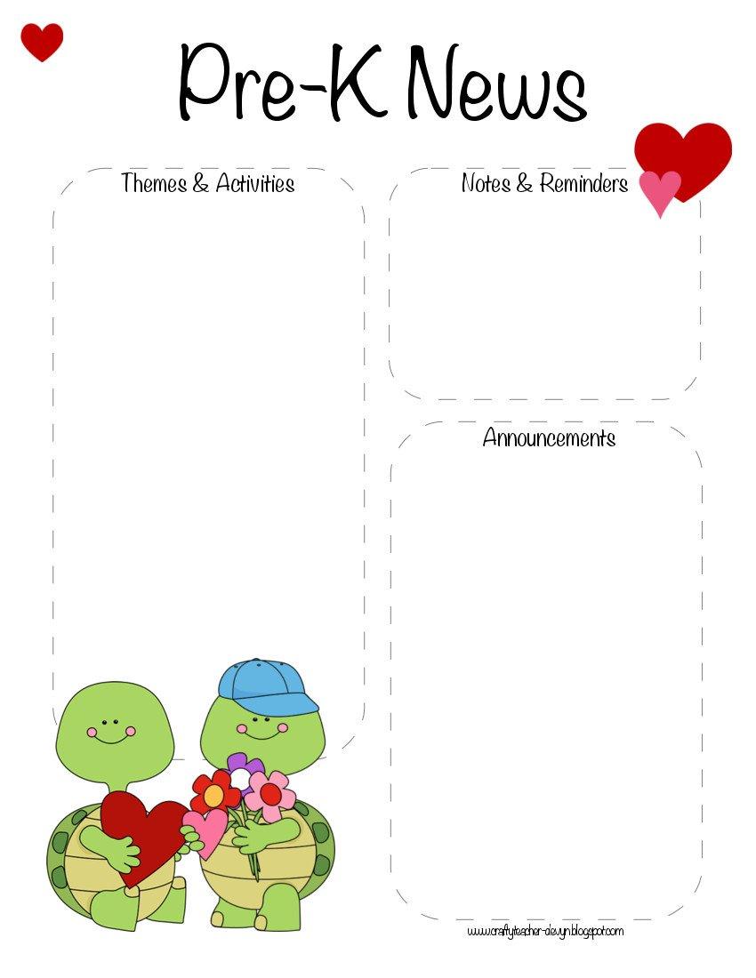 Pre K Newsletter Templates Pre K Valentine S Day February Newsletter Template