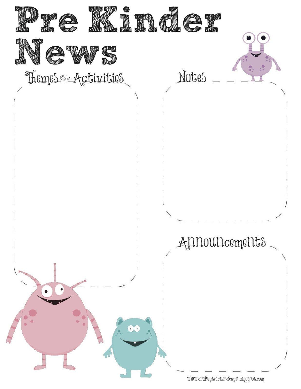 Pre K Newsletter Templates Prek Monster theme Newsletter Template