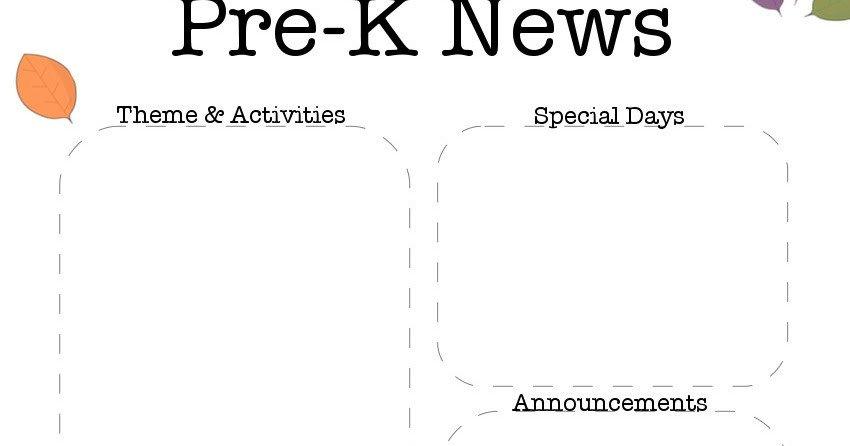 Pre K Newsletter Templates the Crafty Teacher October Pre K Newsletter Template