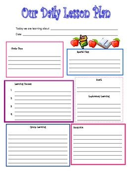 Preschool Daily Lesson Plan Template by Kari Lostocco