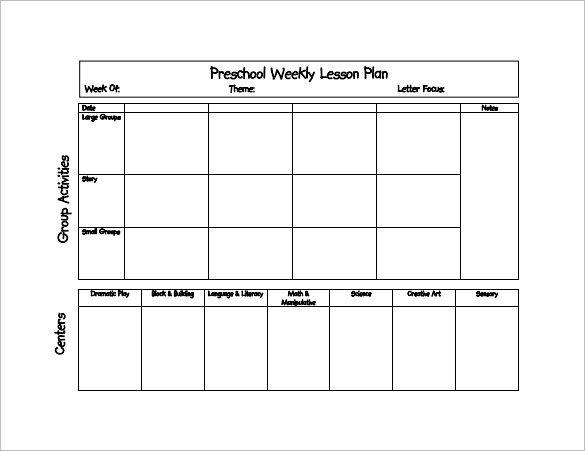 Preschool Daily Lesson Plan Template Preschool Lesson Plan Template 11 Free Pdf Word format