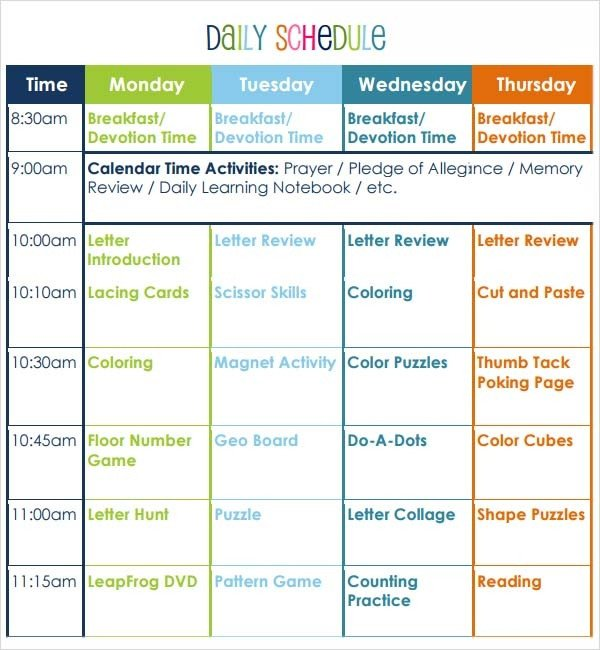 Preschool Daily Lesson Plan Template Preschool Lesson Plan Template 7 Download Free