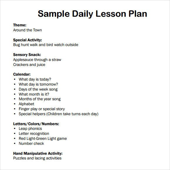 Preschool Daily Lesson Plan Template Sample Daily Lesson Plan 8 Documents In Pdf Word