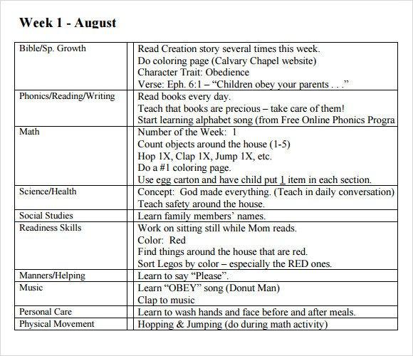 Preschool Daily Lesson Plan Template Sample Preschool Lesson Plan 10 Pdf Word formats