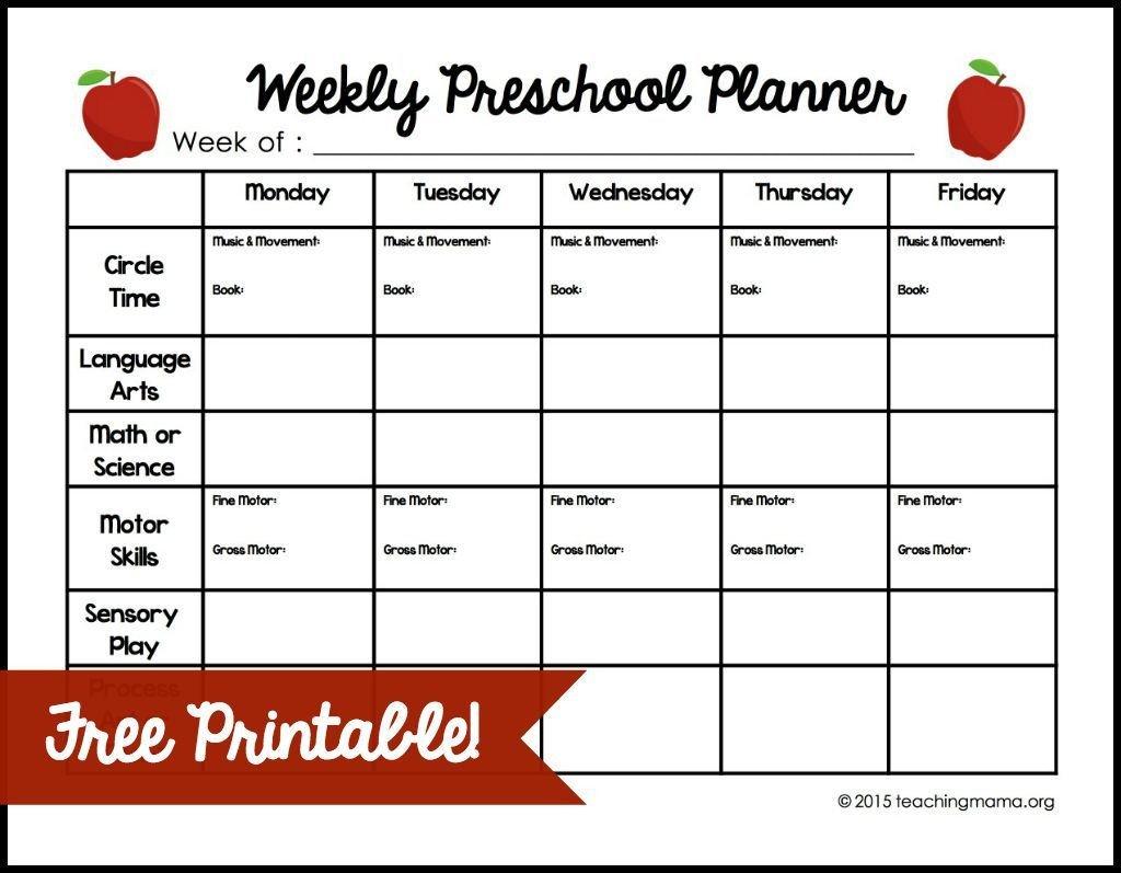Preschool Daily Lesson Plan Template Weekly Preschool Planner