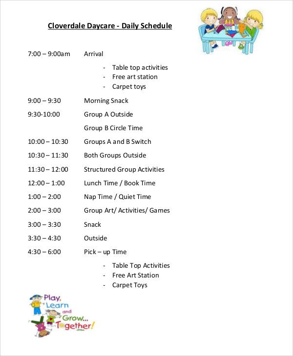 Preschool Daily Schedule Template 10 Daycare Schedule Templates Sample Examples