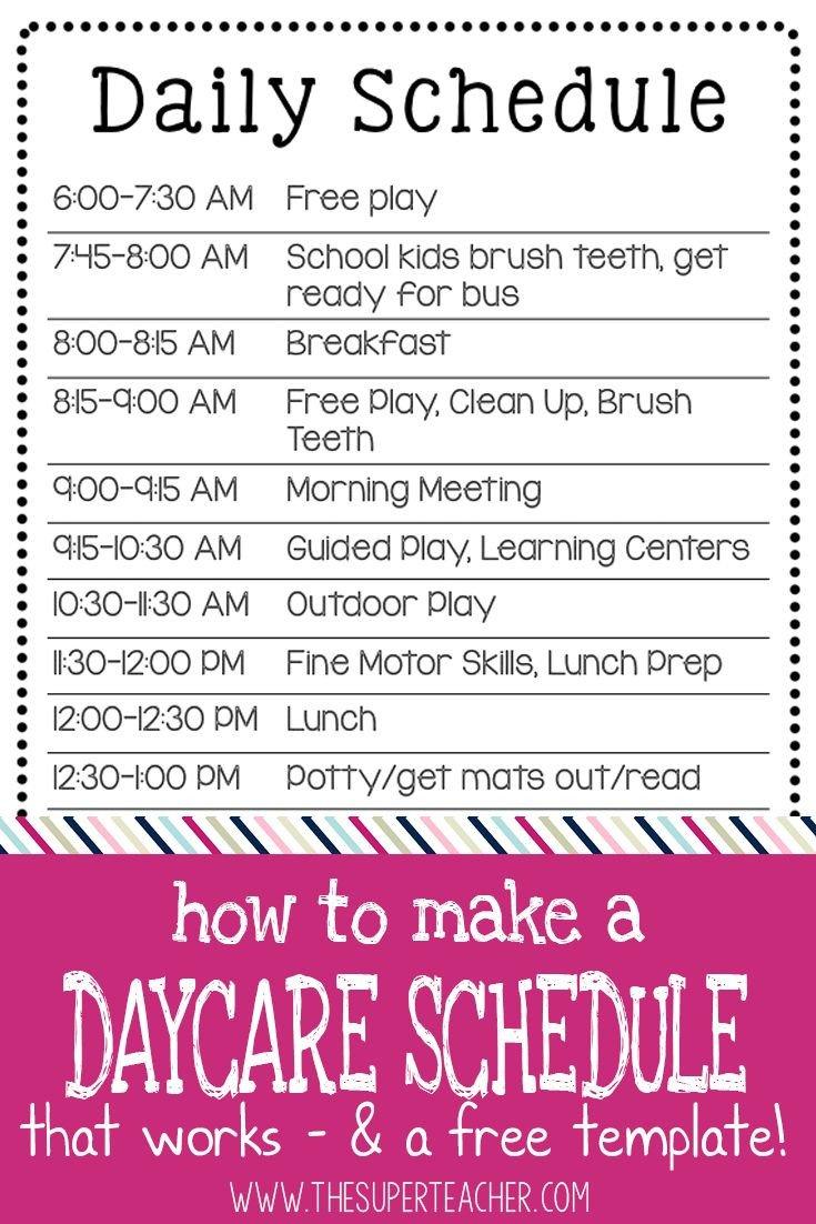 Preschool Daily Schedule Template 25 Best Daycare Schedule Ideas On Pinterest