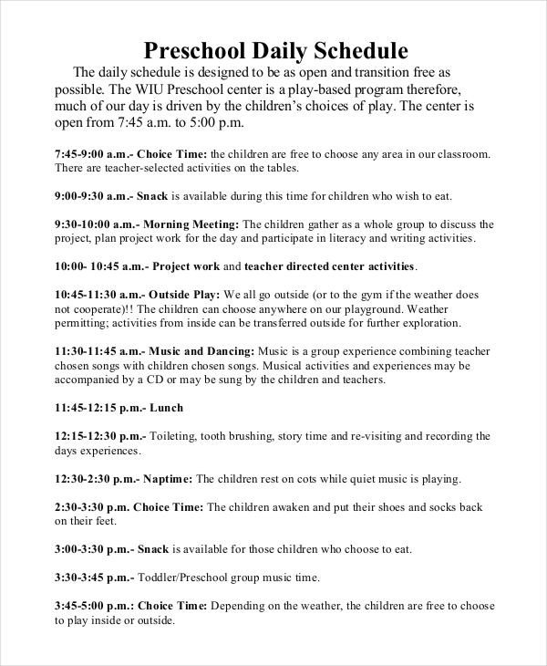 Preschool Daily Schedule Template 27 Printable Schedule Templates