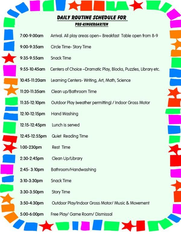 Preschool Daily Schedule Template 29 Of Day Care Classroom Template