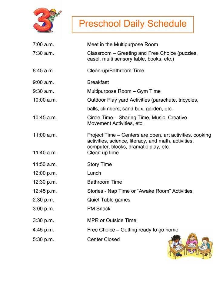 Preschool Daily Schedule Template Best 25 Daily Schedule Preschool Ideas On Pinterest