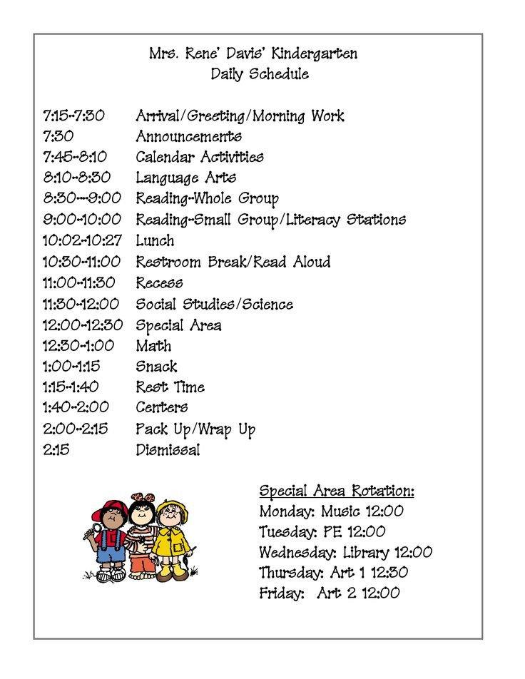 Preschool Daily Schedule Template Best 25 Kindergarten Schedule Ideas On Pinterest