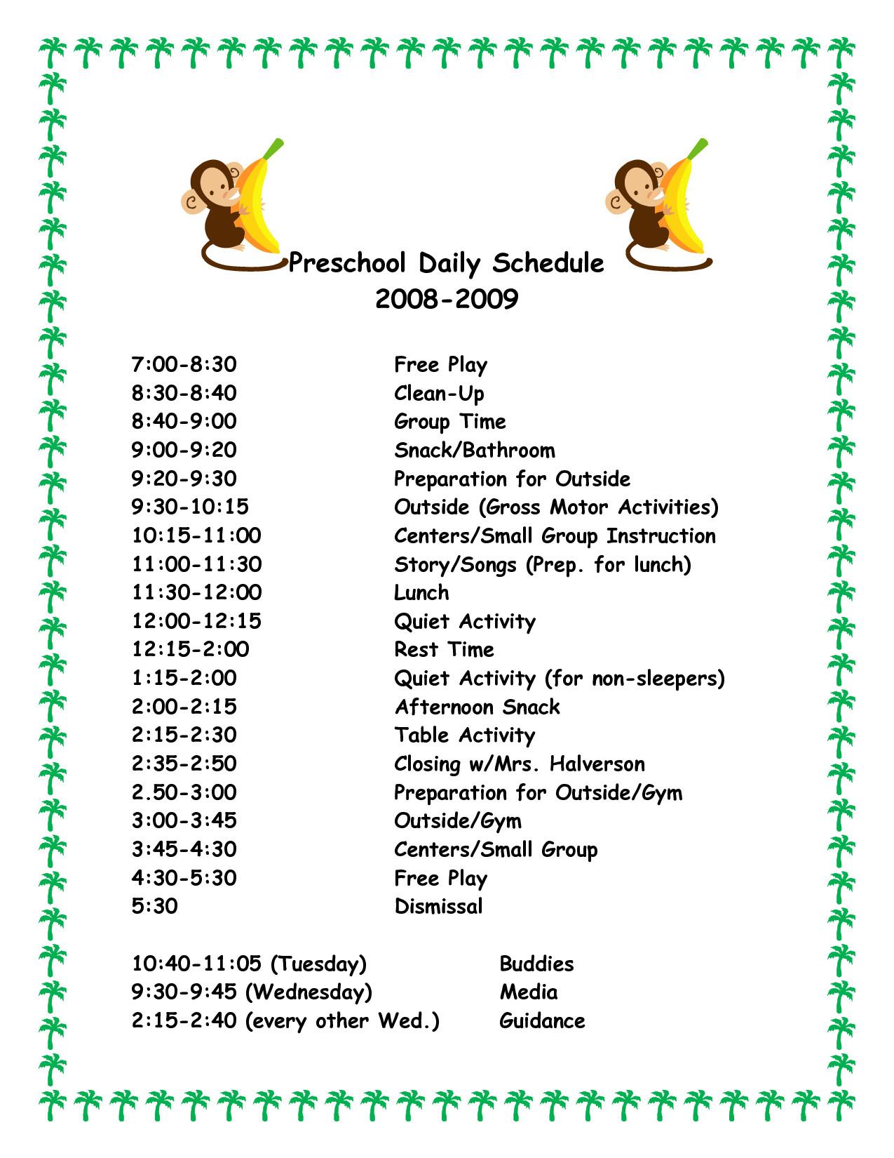 Preschool Daily Schedule Template Daily Schedule Template for Preschool