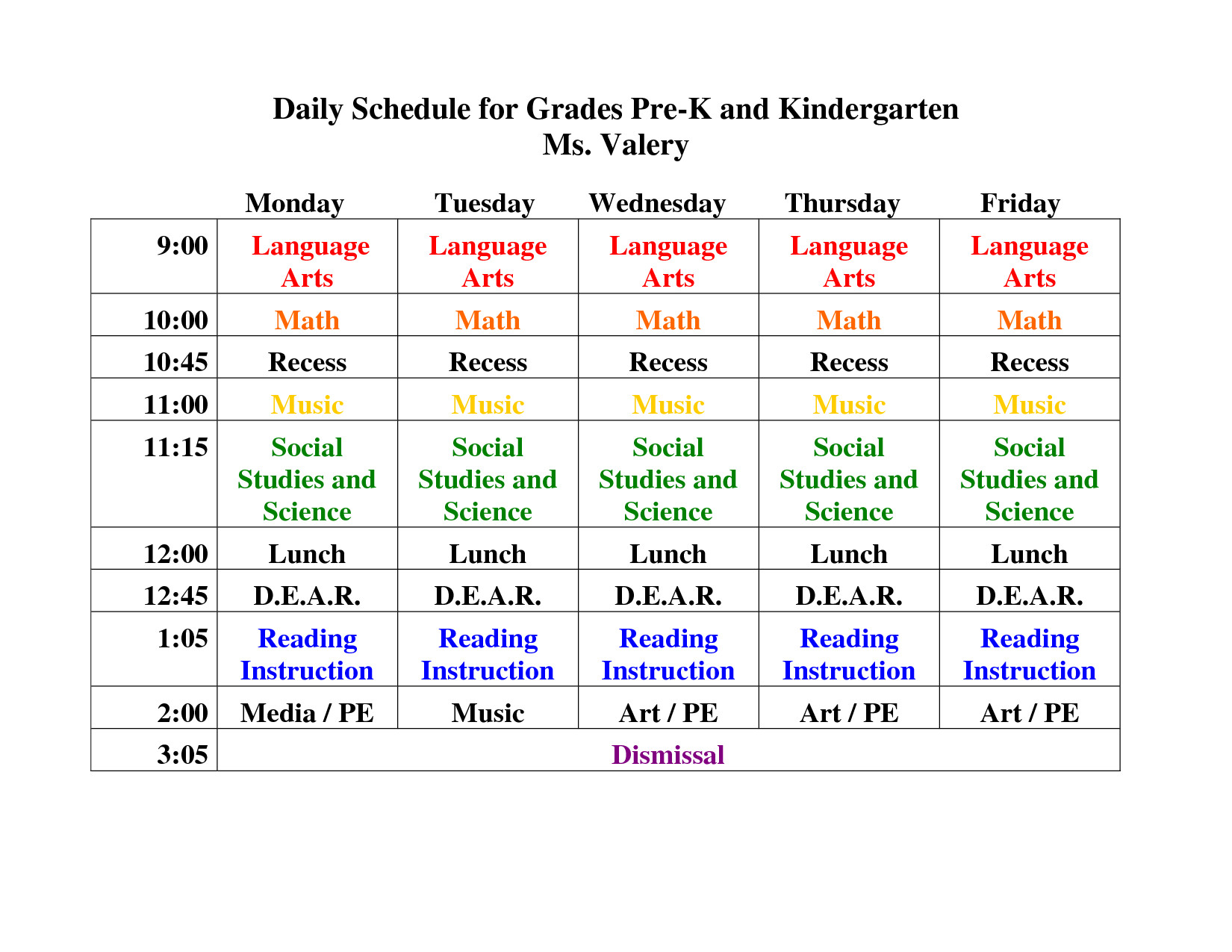 Kindergarten Daily Schedule Template