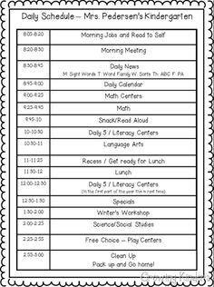 Preschool Daily Schedule Template One Way to Do A Kindergarten Schedule