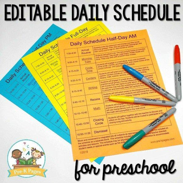 Preschool Daily Schedule Template Preschool Daily Schedule and Visual Schedules