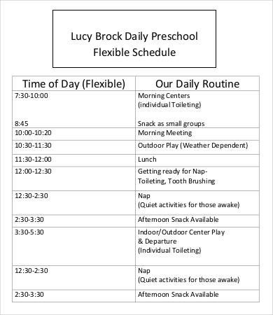 Preschool Daily Schedule Template Preschool Schedule Template 7 Free Word Pdf Documents