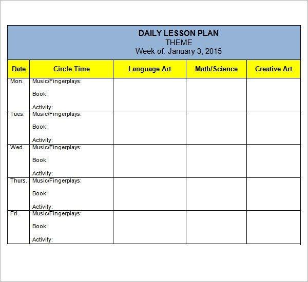 Preschool Lesson Plan Template 10 Download Free